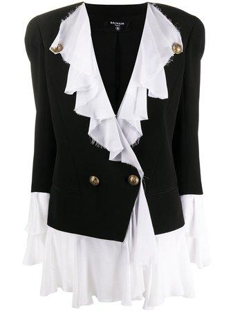 Balmain Ruffled double-breasted Jacket - Farfetch