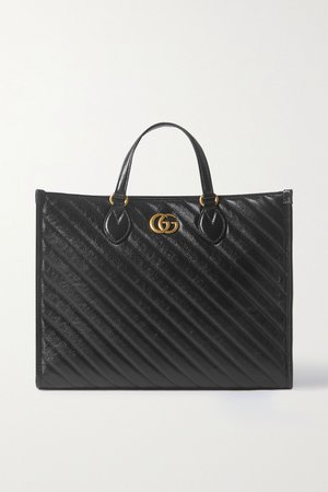 Black GG Marmont medium quilted leather tote | Gucci | NET-A-PORTER