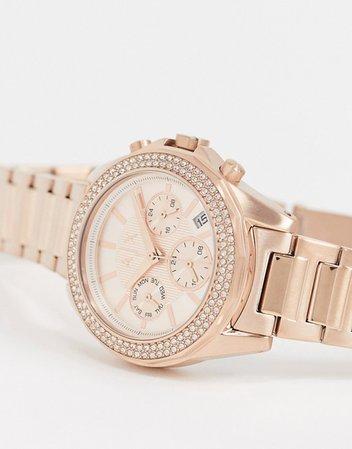 Armani Exchange Lady drexler rose gold bracelet watch   ASOS