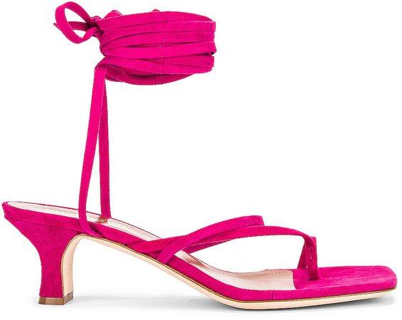 Suede Wrap Sandal in Fuchsia | FWRD