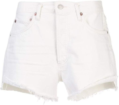 Agolde frayed hems denim shorts
