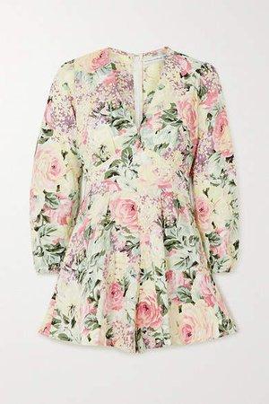 Maribelle Floral-print Linen Playsuit - White
