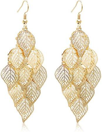 Amazon.com: Gold Leaf Dangle Earring for Women Boho Super Lightweight Chandelier Dangle Drop Earring: Clothing