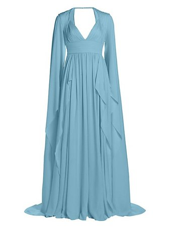 Elie Saab, Silk Chiffon Cape Sleeve Gown