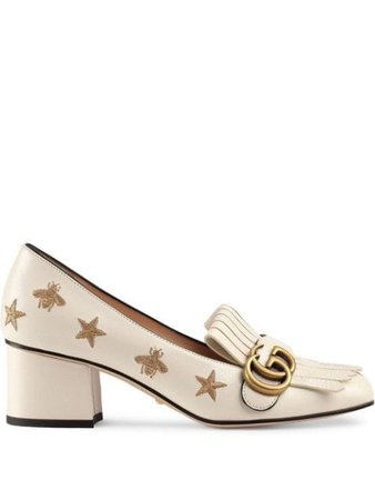 Gucci Embroidered Leather Mid-Heel Pump 551548D3V00 White | Farfetch