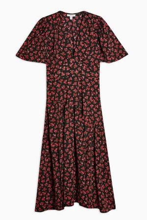 Red Floral Print Angel Sleeve Midi Dress | Topshop
