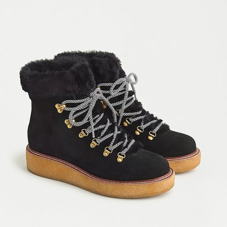 J.Crew: Nubuck Winter Boots With Wedge Crepe Sole