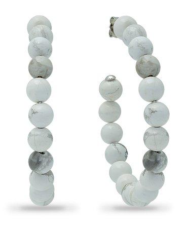 "Macy's Genuine Stone Bead Hoops in Fine Silver Plate, 1 3/4"" & Reviews - Earrings - Jewelry & Watches - Macy's"