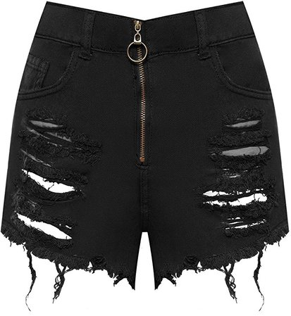 WearAll Women's High Waisted Ripped Distressed Denim Zip Front Hot Pants Ladies Shorts 6-14: Amazon.co.uk: Clothing