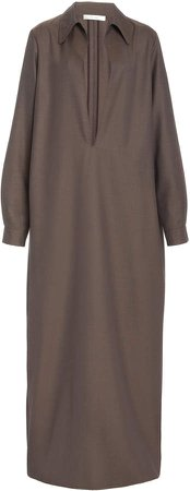 The Row Tomas Wool Collared V-Neck Dress