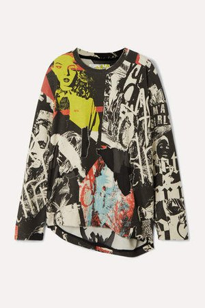 Marques' Almeida - Printed Devore Cotton-blend Jersey Sweatshirt - Black