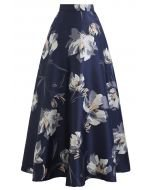 Blooming Floral Jacquard Maxi Skirt in Olive - Retro, Indie and Unique Fashion