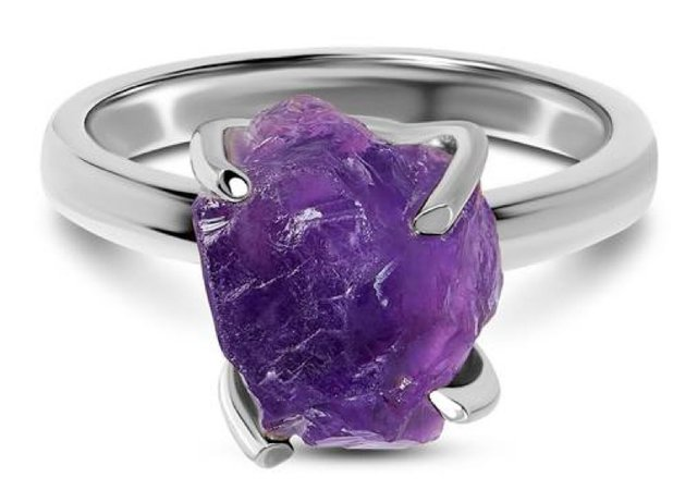 """Silver Band Purple """"Crystal Stone"""" Ring"""