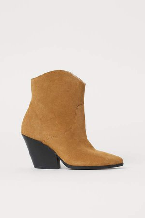 Suede Ankle Boots - Beige