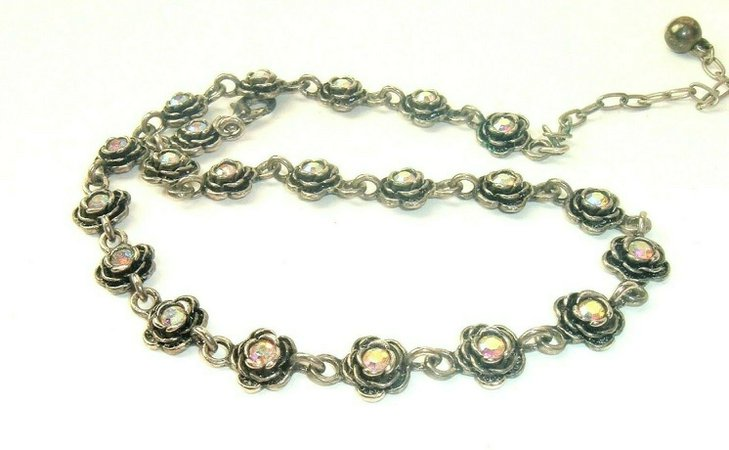 Vintage Necklace Signed PD Premier Designs Rhinestone Flower Silver tone link | eBay