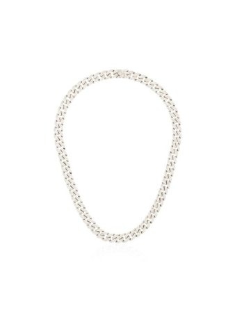 SHAY 18kt white gold mini pavé diamond link necklace SMN1WG18 - Farfetch