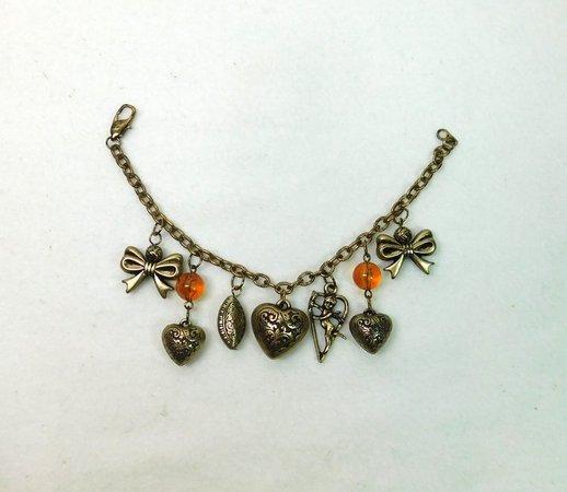 Vintage Dangle Heart Charm Bracelet Ribbon Bows Cupid Fairy | Etsy