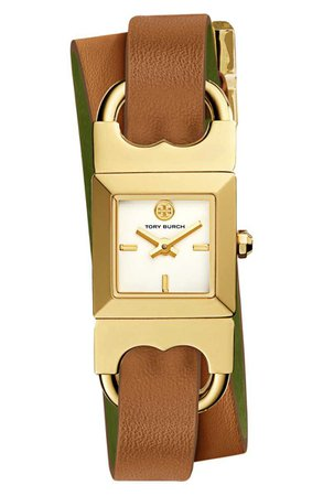 Tory Burch Double T Link Reversible Leather Strap Wrap Watch, 18mm | Nordstrom