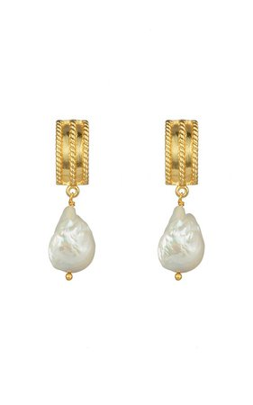 Chloe 24K Gold-Plated Pearl Earrings by VALÉRE