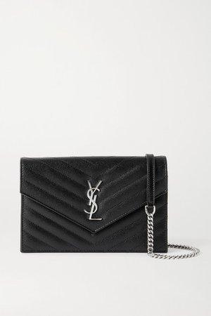 Envelope Textured-leather Shoulder Bag - Black