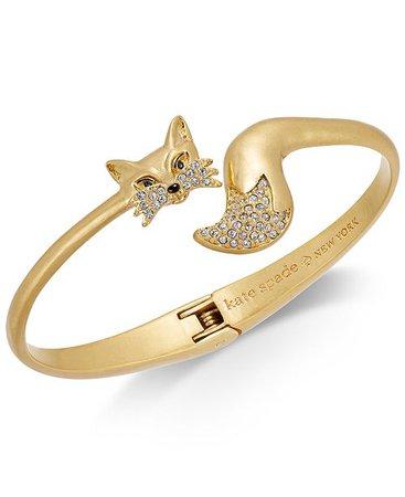 kate spade new york Gold-Tone Pavé Fox Cuff Bracelet & Reviews - Fashion Jewelry - Jewelry & Watches - Macy's