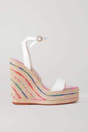 White Lucita leather espadrille wedge sandals | Sophia Webster | NET-A-PORTER