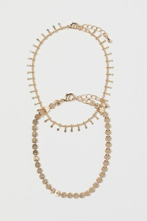 2-pack Metal Anklets - Gold-colored - Ladies | H&M US