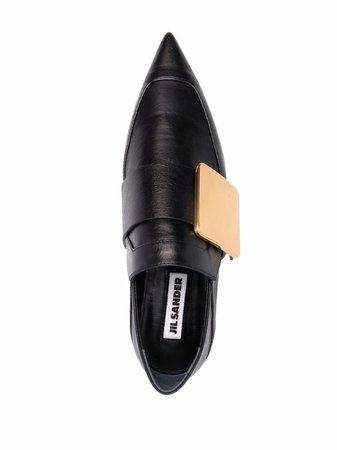 Shop Jil Sander buckle-detail pointed loafers with Express Delivery - FARFETCH