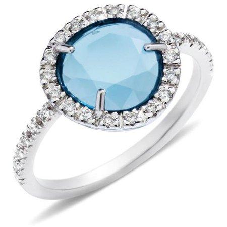 Light Blue & Diamond Ring