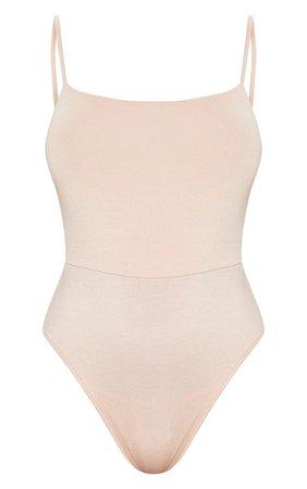 Nude Basic Square Neck Thong Bodysuit | PrettyLittleThing