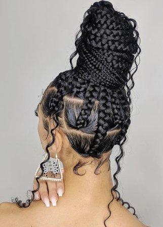 black girl braided bun