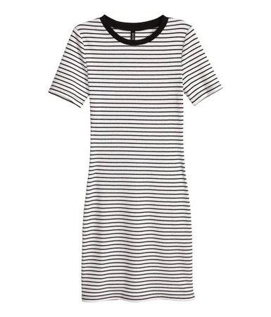 Striped Shirt-Dress (black + white)