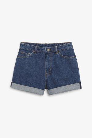 High waist denim shorts - Medium blue - Shorts - Monki WW