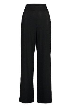 Wide Leg High Waisted Trouser | boohoo black
