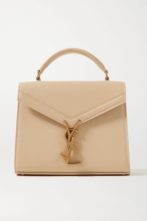 Beige Cassandra mini textured-leather tote | SAINT LAURENT | NET-A-PORTER