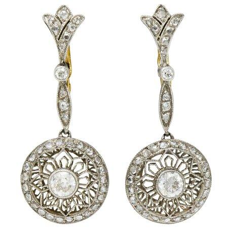 Art Deco Diamond Platinum 18 Karat Gold Drop Earrings For Sale at 1stDibs