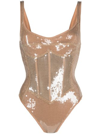 Shop David Koma sequin-embellished corset bodysuit with Express Delivery - Farfetch