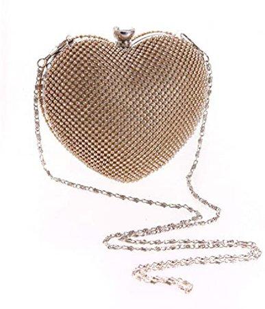 Abbie Home Heart Shaped Evening Bag Wedding Party Crystal Bridal Clutch (Gold): Handbags: Amazon.com