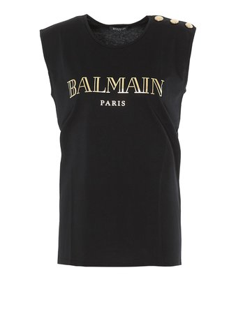 Balmain Gold-Tone Logo Print Black Top