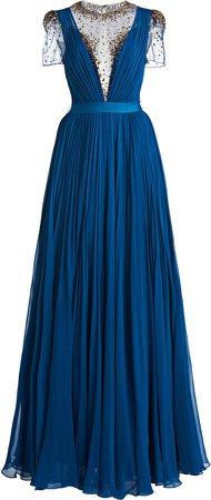 Jenny Packham Pleated Chiffon Gown