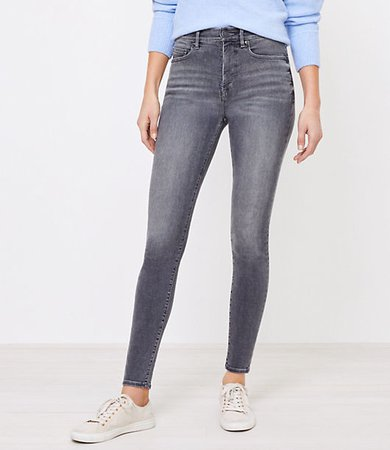 High Rise Denim Leggings in Mid Grey Wash