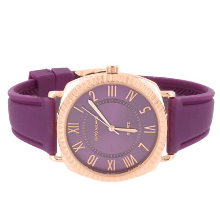 Master Of Bling - Womens Purple Dial Watch Rose Gold Tone Roman Numeral Hour Purple Rubber Band - Walmart.com - Walmart.com