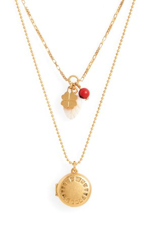 Madewell Engraved Locket Set of 2 Necklaces | Nordstrom