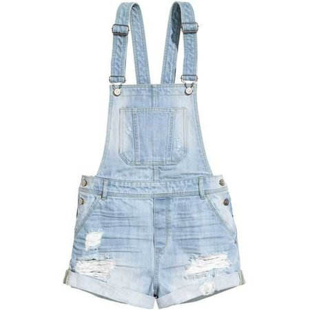 Distressed Short Overalls