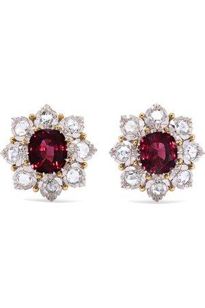 Buccellati | Ohrringe aus 18 Karat Weiß- und Gelbgold mit Diamanten und Granaten | NET-A-PORTER.COM