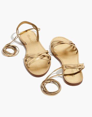 The Boardwalk Woven Lace-Up Sandal in Golden Metallic