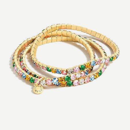 J.Crew: Stackable Crystal Stretch Bracelet Set For Women