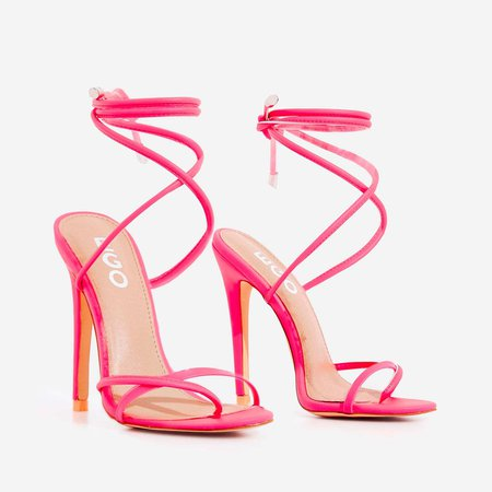 Rochelle Lace Up Barely There Heel In Neon Pink Faux Leather | EGO