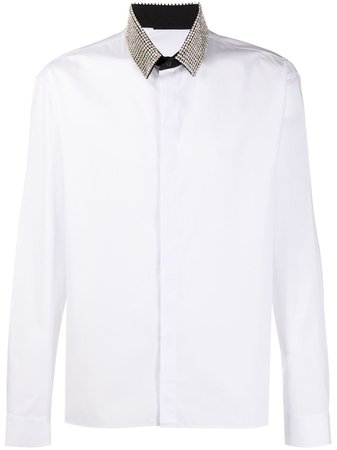 Shop white Haider Ackermann embellished collar shirt with Express Delivery - Farfetch