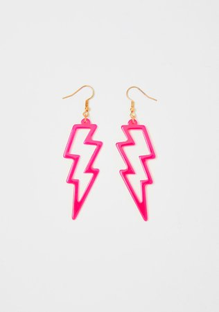 Neon Lightning Bolt Outline Earrings - Pink | Dolls Kill